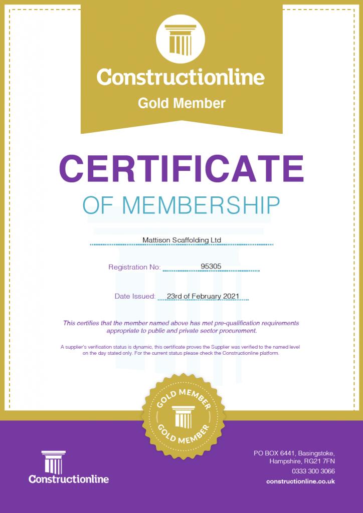 Constructionline Gold Member Mattison Scaffolding Ltd