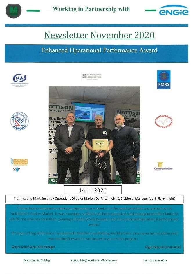 Health & Safety Award Mattison Scaffolding Ltd